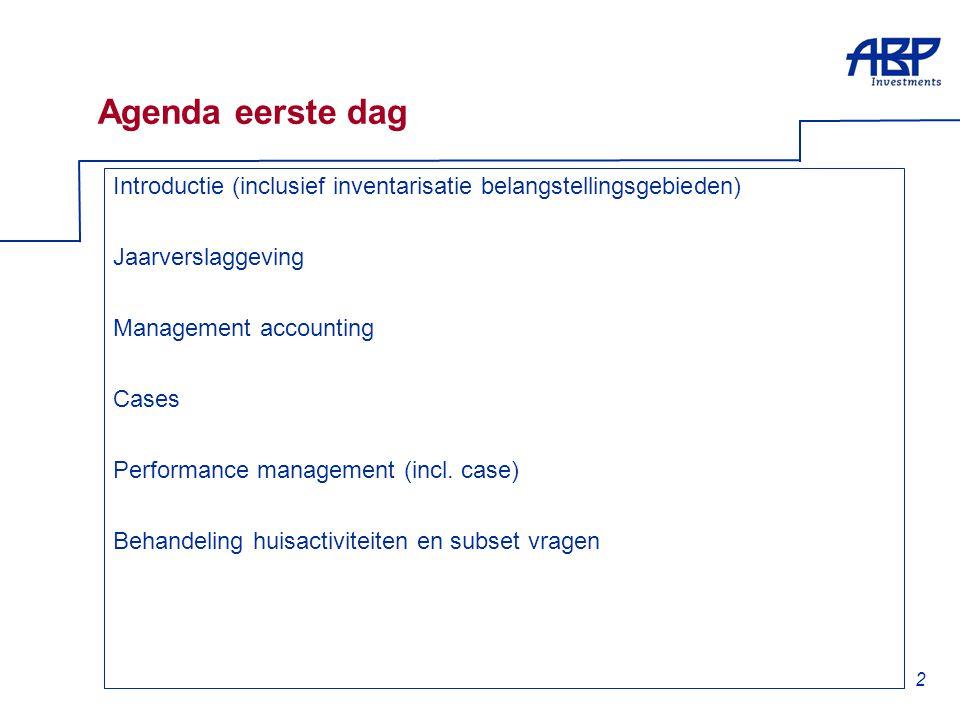 2 Agenda eerste dag Introductie (inclusief inventarisatie belangstellingsgebieden) Jaarverslaggeving Management accounting Cases Performance managemen
