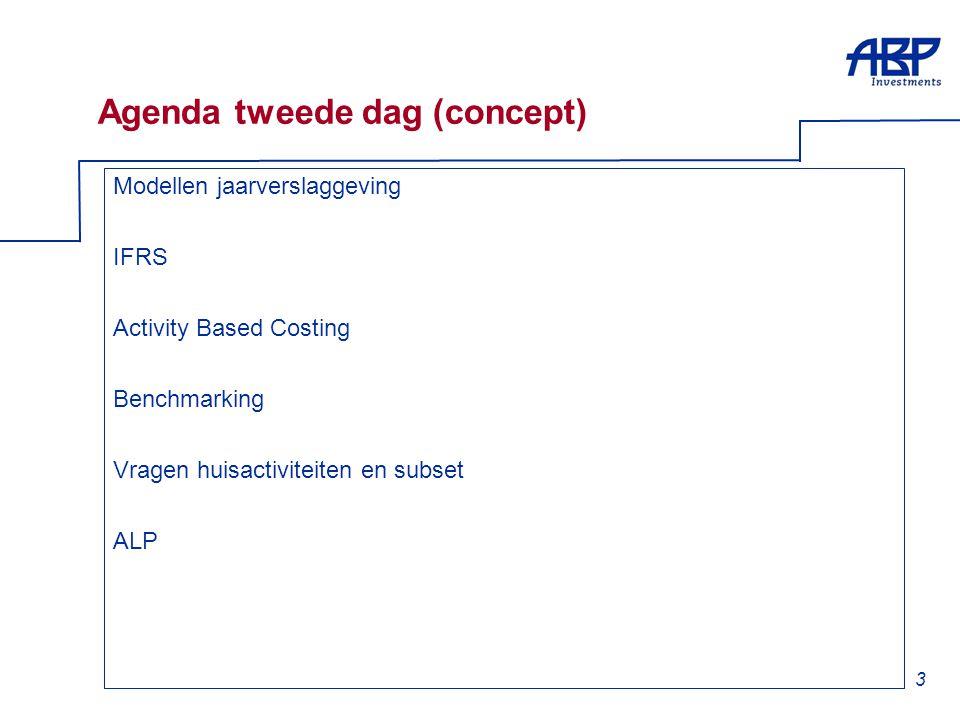 3 Agenda tweede dag (concept) Modellen jaarverslaggeving IFRS Activity Based Costing Benchmarking Vragen huisactiviteiten en subset ALP