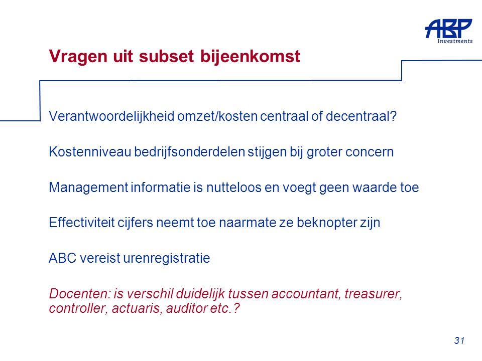 31 Vragen uit subset bijeenkomst Verantwoordelijkheid omzet/kosten centraal of decentraal? Kostenniveau bedrijfsonderdelen stijgen bij groter concern