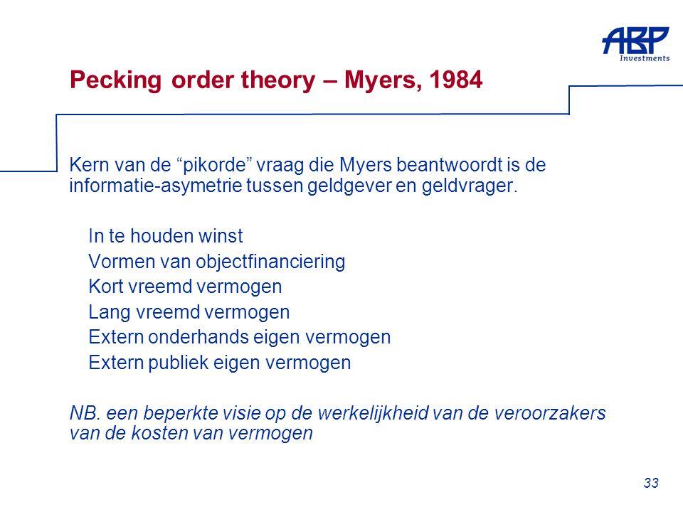 """33 Pecking order theory – Myers, 1984 Kern van de """"pikorde"""" vraag die Myers beantwoordt is de informatie-asymetrie tussen geldgever en geldvrager.  I"""