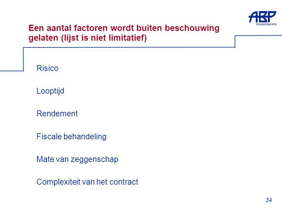 34 Een aantal factoren wordt buiten beschouwing gelaten (lijst is niet limitatief)  Risico  Looptijd  Rendement  Fiscale behandeling  Mate van zeggenschap  Complexiteit van het contract