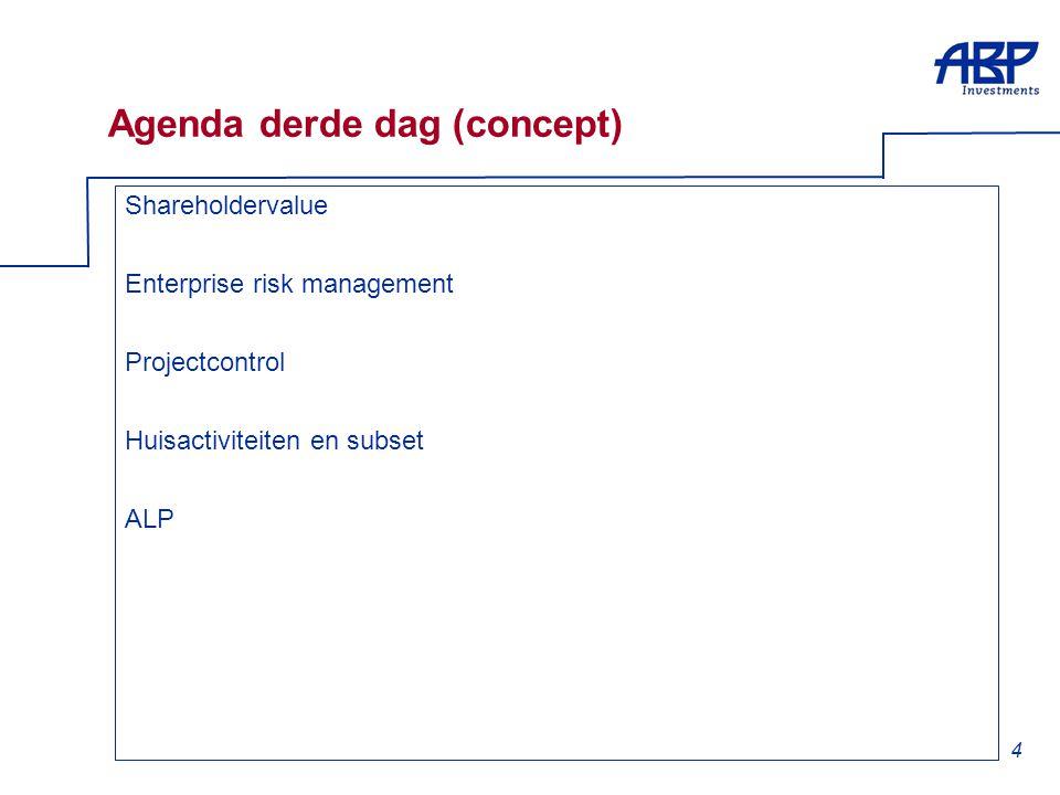 4 Agenda derde dag (concept) Shareholdervalue Enterprise risk management Projectcontrol Huisactiviteiten en subset ALP