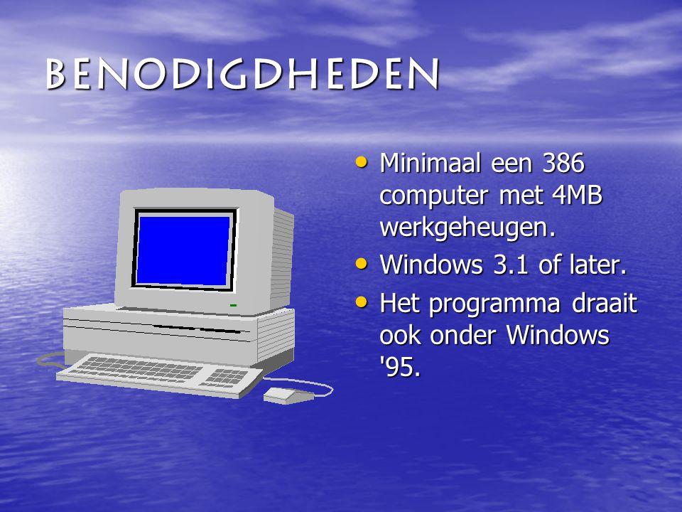 Benodigdheden Minimaal een 386 computer met 4MB werkgeheugen.