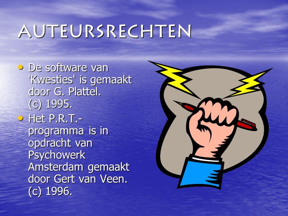 Auteursrechten De software van Kwesties is gemaakt door G.