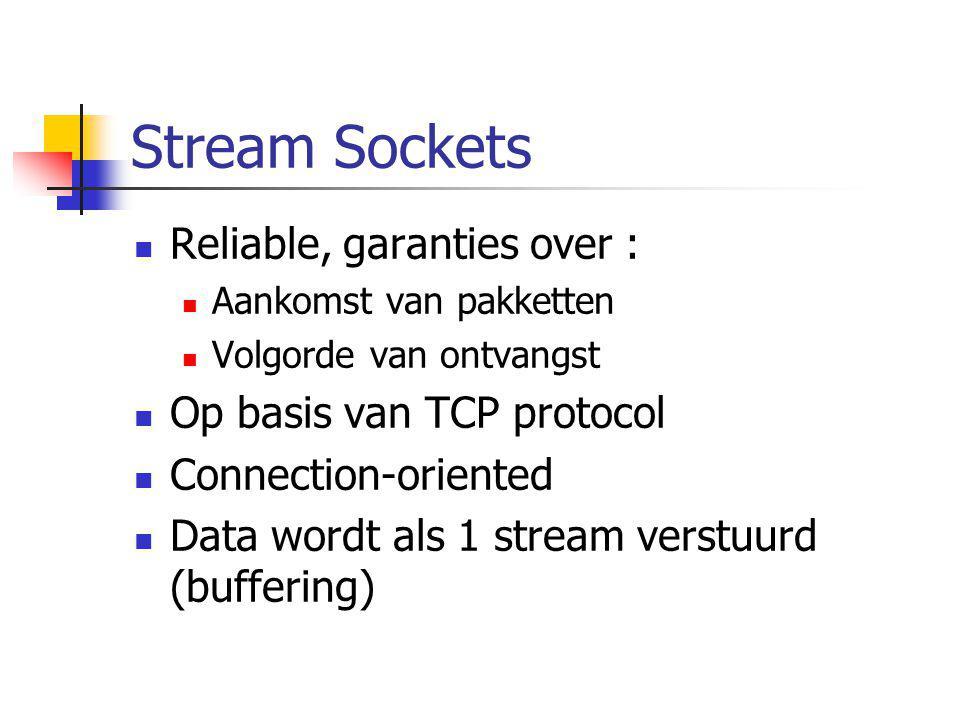 Stream Sockets Reliable, garanties over : Aankomst van pakketten Volgorde van ontvangst Op basis van TCP protocol Connection-oriented Data wordt als 1
