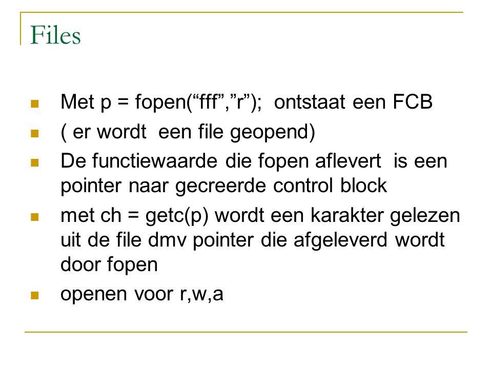 Files Met p = fopen( fff , r ); ontstaat een FCB ( er wordt een file geopend) De functiewaarde die fopen aflevert is een pointer naar gecreerde control block met ch = getc(p) wordt een karakter gelezen uit de file dmv pointer die afgeleverd wordt door fopen openen voor r,w,a