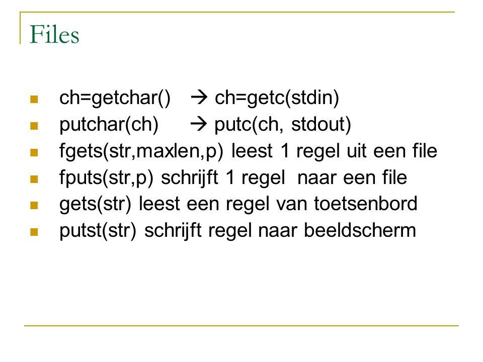 Files ch=getchar()  ch=getc(stdin) putchar(ch)  putc(ch, stdout) fgets(str,maxlen,p) leest 1 regel uit een file fputs(str,p) schrijft 1 regel naar een file gets(str) leest een regel van toetsenbord putst(str) schrijft regel naar beeldscherm