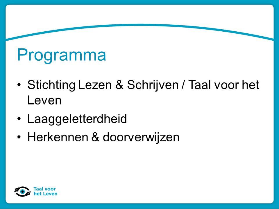 Programma Stichting Lezen & Schrijven / Taal voor het Leven Laaggeletterdheid Herkennen & doorverwijzen