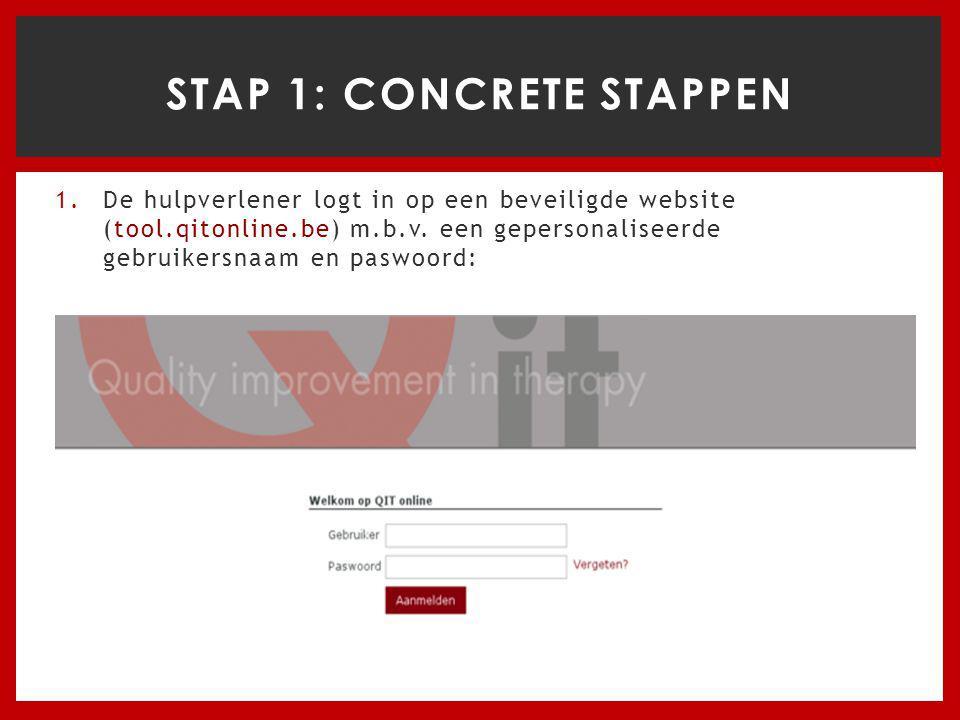 1.De hulpverlener logt in op een beveiligde website (tool.qitonline.be) m.b.v.
