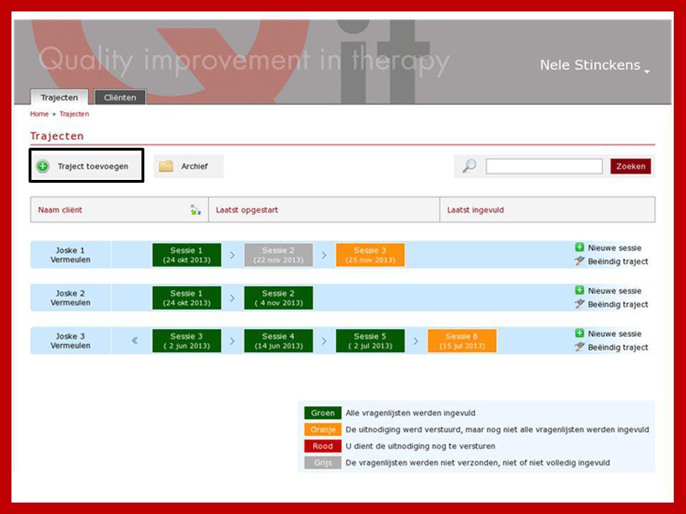 De kleuren geven de monitoring-status van de sessies aan