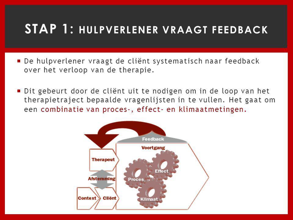  De hulpverlener vraagt de cliënt systematisch naar feedback over het verloop van de therapie.