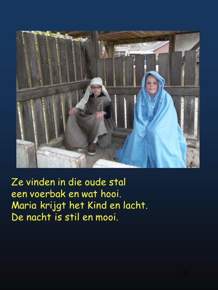 Ze vinden in die oude stal een voerbak en wat hooi. Maria krijgt het Kind en lacht. De nacht is stil en mooi. 11