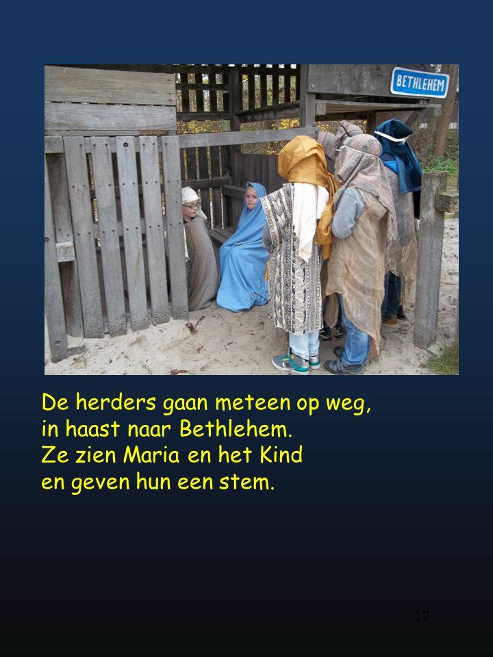De herders gaan meteen op weg, in haast naar Bethlehem. Ze zien Maria en het Kind en geven hun een stem. 17