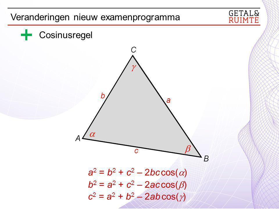 Cosinusregel a 2 = b 2 + c 2 – 2bc cos(  )    a c b A B C b 2 = a 2 + c 2 – 2ac cos(  ) c 2 = a 2 + b 2 – 2ab cos(  ) Veranderingen nieuw examenprogramma