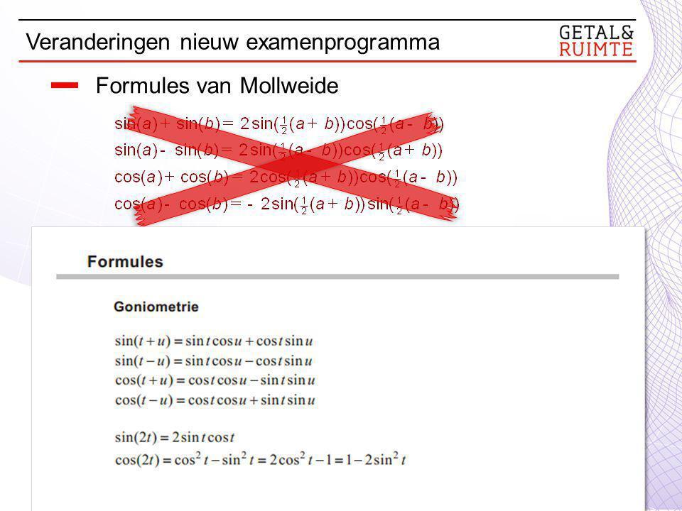 Formules van Mollweide Veranderingen nieuw examenprogramma