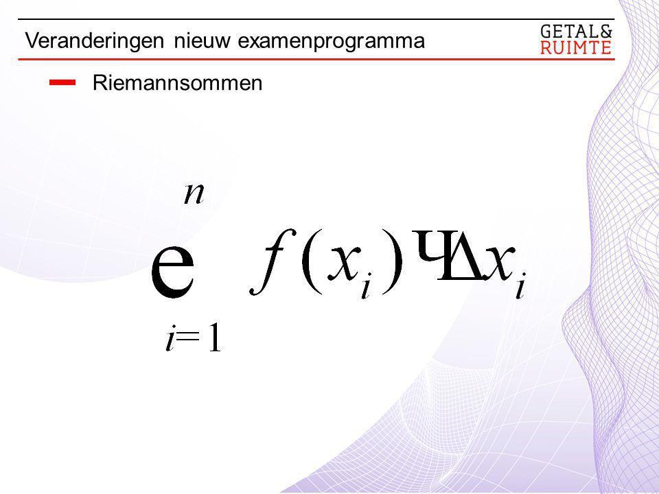 Riemannsommen Veranderingen nieuw examenprogramma