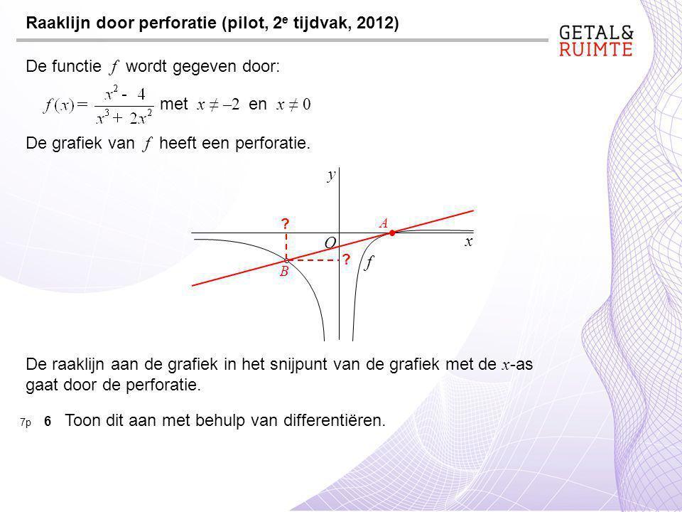 Raaklijn door perforatie (pilot, 2 e tijdvak, 2012) De functie f wordt gegeven door: met x ≠ –2 en x ≠ 0 De grafiek van f heeft een perforatie.