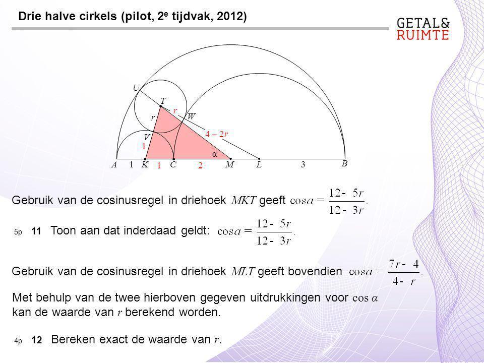 C Drie halve cirkels (pilot, 2 e tijdvak, 2012) A B K L 3 1 M T U W V r α Gebruik van de cosinusregel in driehoek MKT geeft 5p 11 Toon aan dat inderdaad geldt: 21 1 Gebruik van de cosinusregel in driehoek MLT geeft bovendien Met behulp van de twee hierboven gegeven uitdrukkingen voor cos α kan de waarde van r berekend worden.
