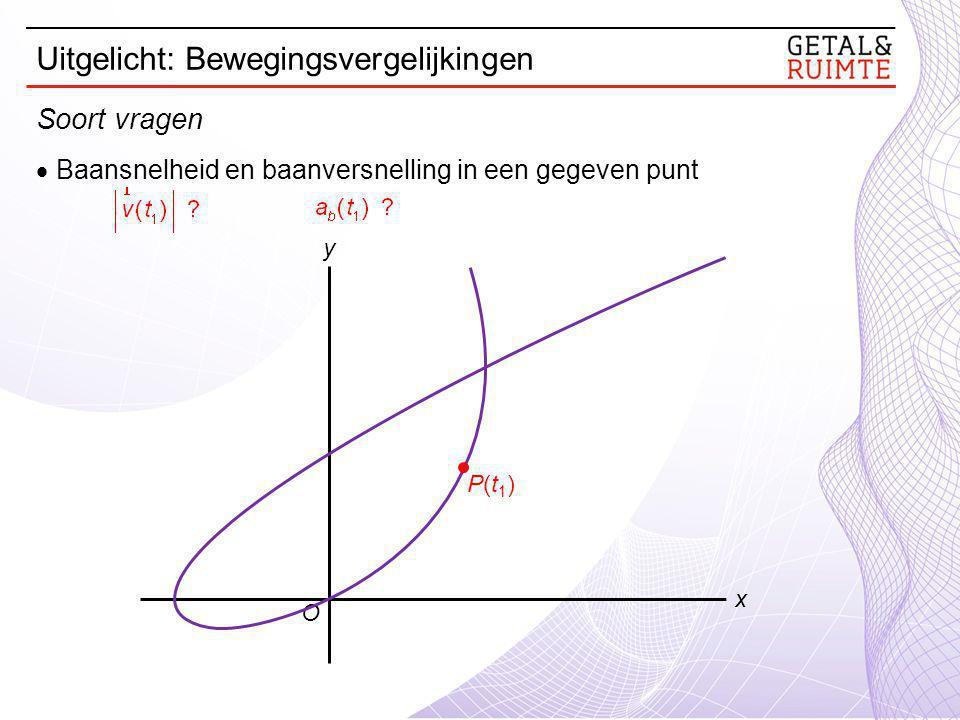 Baansnelheid en baanversnelling in een gegeven punt O y x P(t1)P(t1) Soort vragen Uitgelicht: Bewegingsvergelijkingen