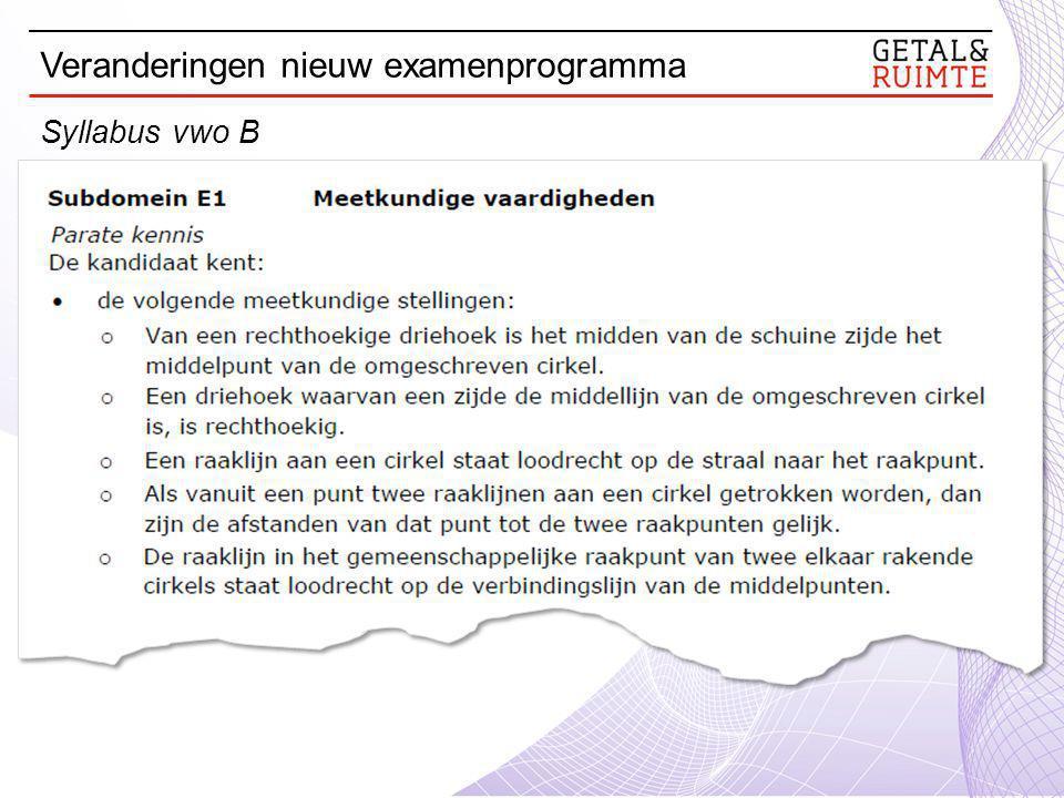 Syllabus vwo B Veranderingen nieuw examenprogramma