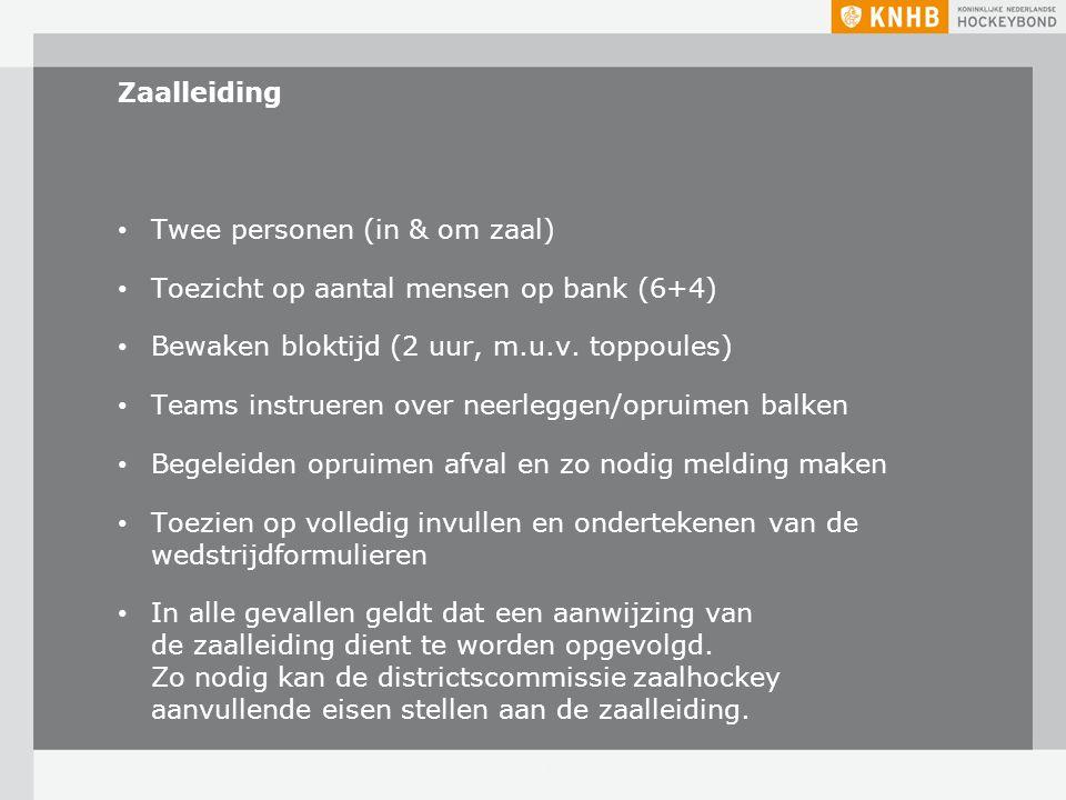 Zaalleiding Twee personen (in & om zaal) Toezicht op aantal mensen op bank (6+4) Bewaken bloktijd (2 uur, m.u.v. toppoules) Teams instrueren over neer