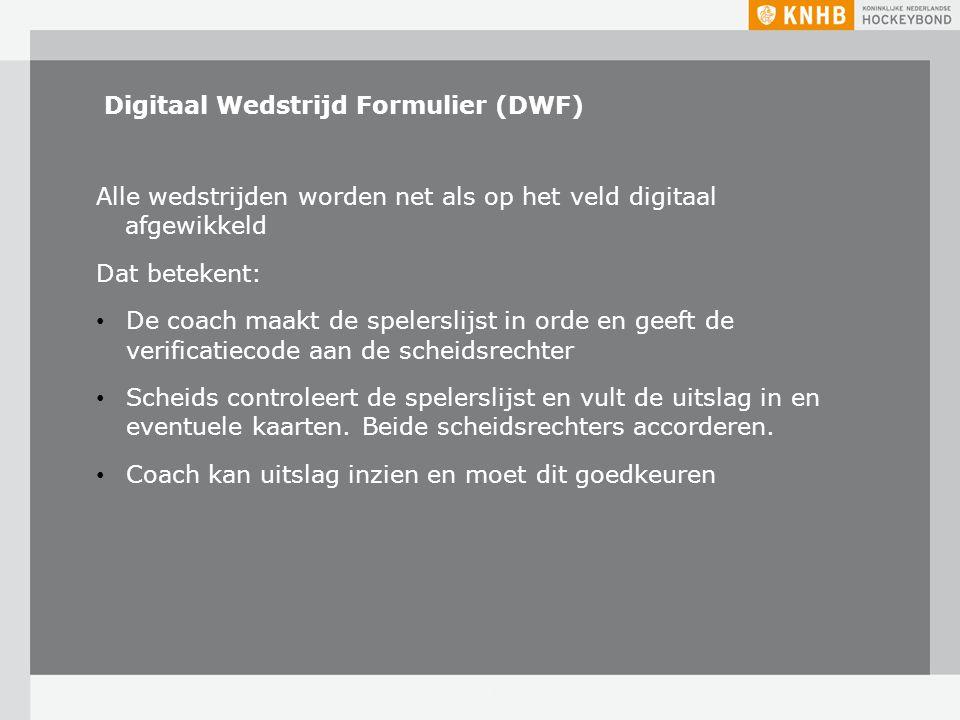 Digitaal Wedstrijd Formulier (DWF) Alle wedstrijden worden net als op het veld digitaal afgewikkeld Dat betekent: De coach maakt de spelerslijst in or