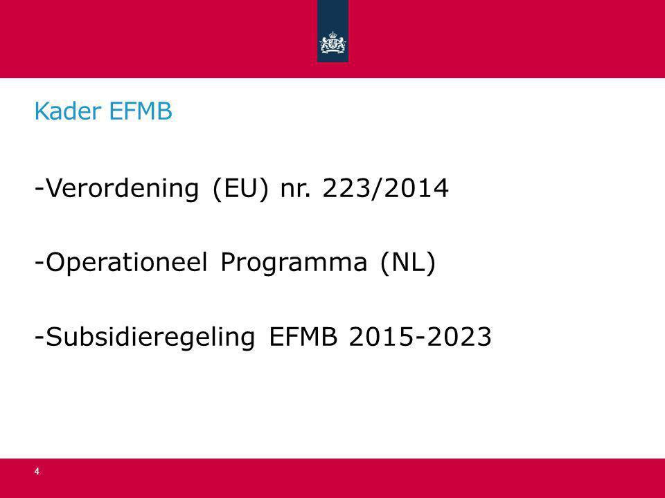 Kenmerken EFMB (NL) -Gericht op sociale inclusie (OP II) -Looptijd van het Fonds is 7 jaar -Doelgroep: ouderen met een laag besteedbaar inkomen -In totaal ruim 4,4 miljoen euro beschikbaar -Partijen worden uitgenodigd een inhoudelijk plan in te dienen -Indiener van het plan dat de hoogste totaalscore behaald ontvangt de subsidie -Subsidie loopt tot uiterlijk 31 december 2023, afhankelijk van tussentijdse evaluaties 5
