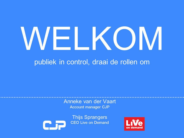 WELKOM publiek in control, draai de rollen om Anneke van der Vaart Account manager CJP Thijs Sprangers CEO Live on Demand CJP Cultuurkaart