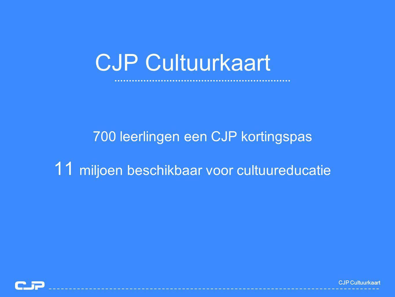 700 leerlingen een CJP kortingspas CJP Cultuurkaart 11 miljoen beschikbaar voor cultuureducatie