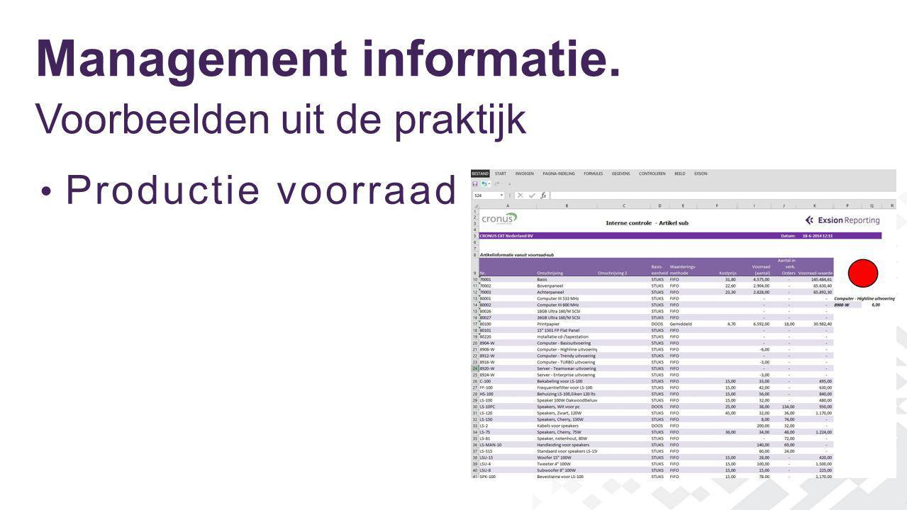 Management informatie. Voorbeelden uit de praktijk Productie voorraad
