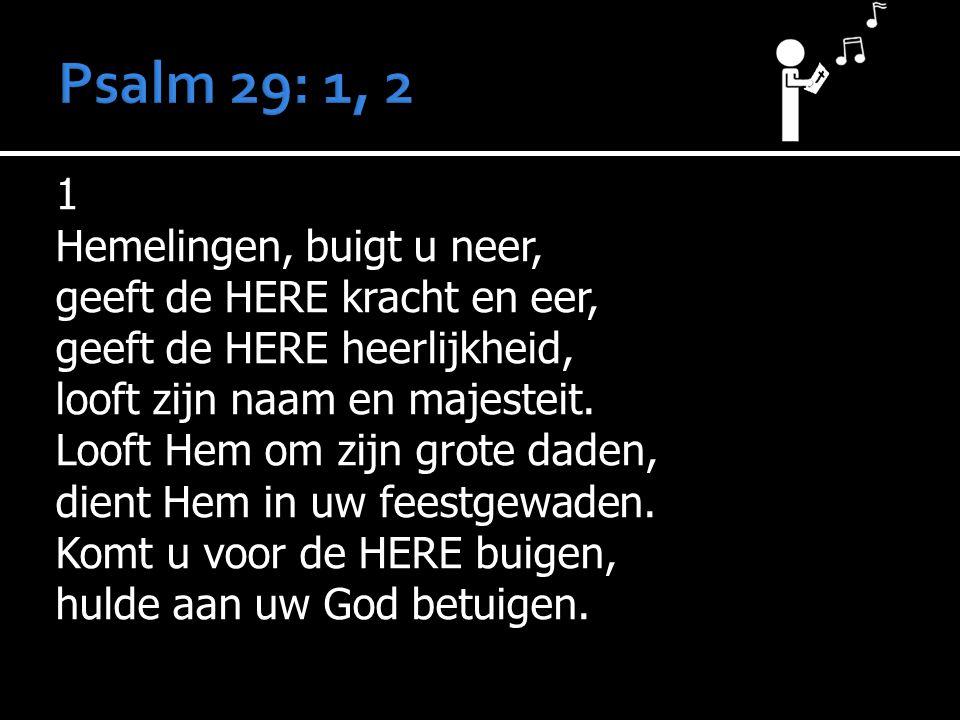 1 Hemelingen, buigt u neer, geeft de HERE kracht en eer, geeft de HERE heerlijkheid, looft zijn naam en majesteit.