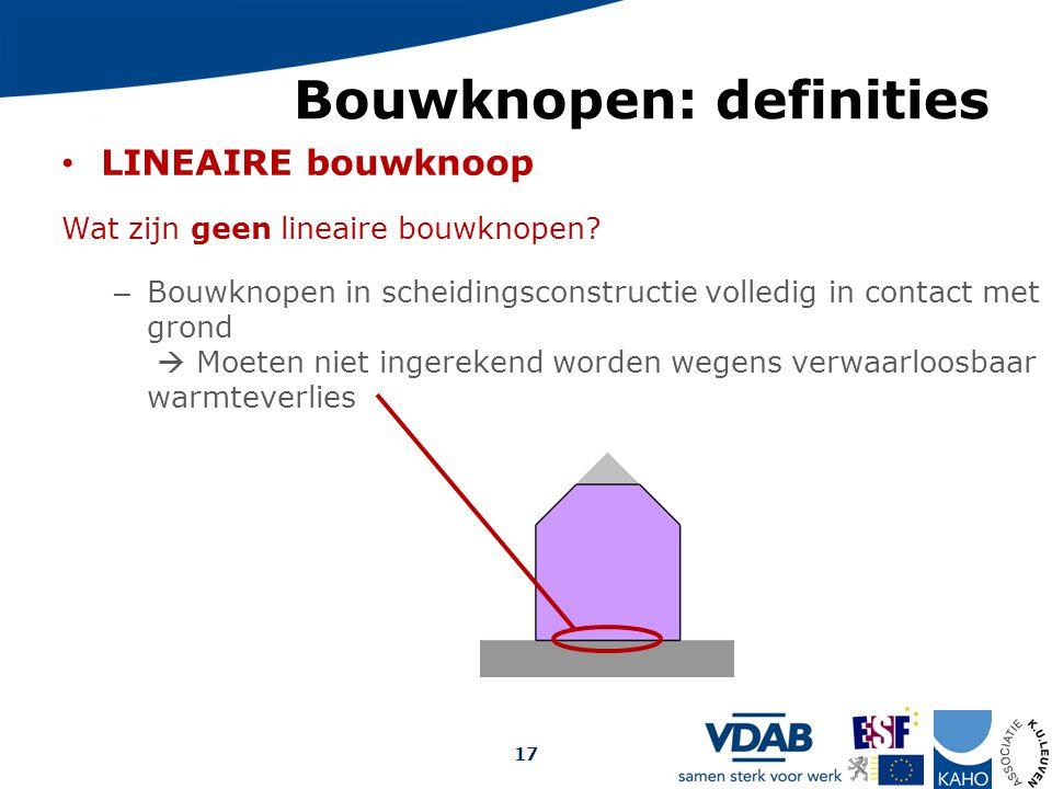 Bouwknopen: definities LINEAIRE bouwknoop Wat zijn geen lineaire bouwknopen? – Bouwknopen in scheidingsconstructie volledig in contact met grond  Moe