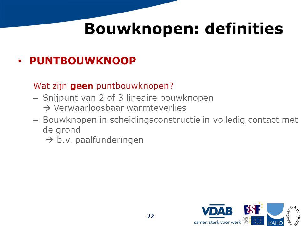 Bouwknopen: definities PUNTBOUWKNOOP Wat zijn geen puntbouwknopen? – Snijpunt van 2 of 3 lineaire bouwknopen  Verwaarloosbaar warmteverlies – Bouwkno