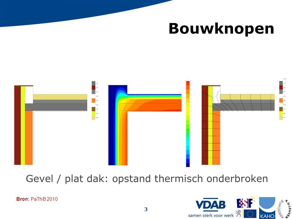 Bron: PaThB 2010 Opmaak: Arch. Christophe Debrabander, 2009 Bouwknopen 3 Gevel / plat dak: opstand thermisch onderbroken