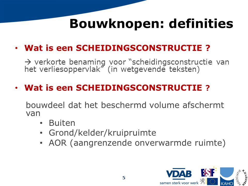 """Bouwknopen: definities Wat is een SCHEIDINGSCONSTRUCTIE ?  verkorte benaming voor """"scheidingsconstructie van het verliesoppervlak"""" (in wetgevende tek"""