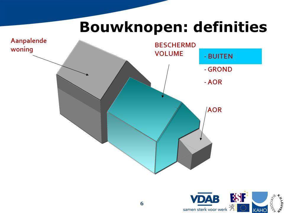 Bouwknopen: definities Aanpalende woning BESCHERMD VOLUME AOR - BUITEN - GROND - AOR Opmaak: Arch. Christophe Debrabander, 2009 6