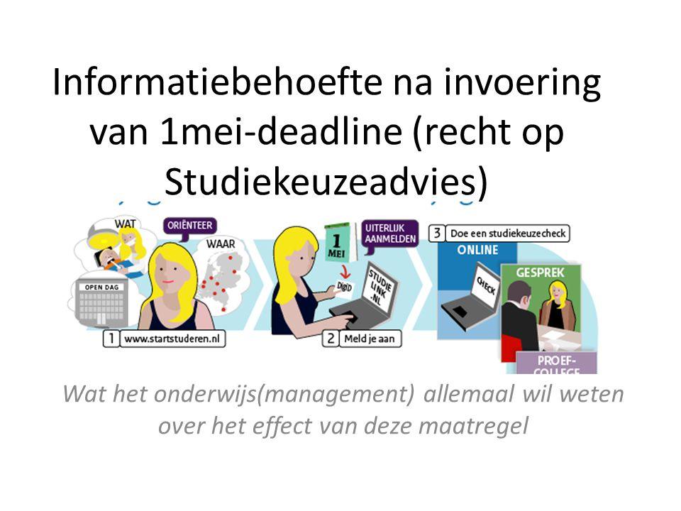 Informatiebehoefte na invoering van 1mei-deadline (recht op Studiekeuzeadvies) Wat het onderwijs(management) allemaal wil weten over het effect van de