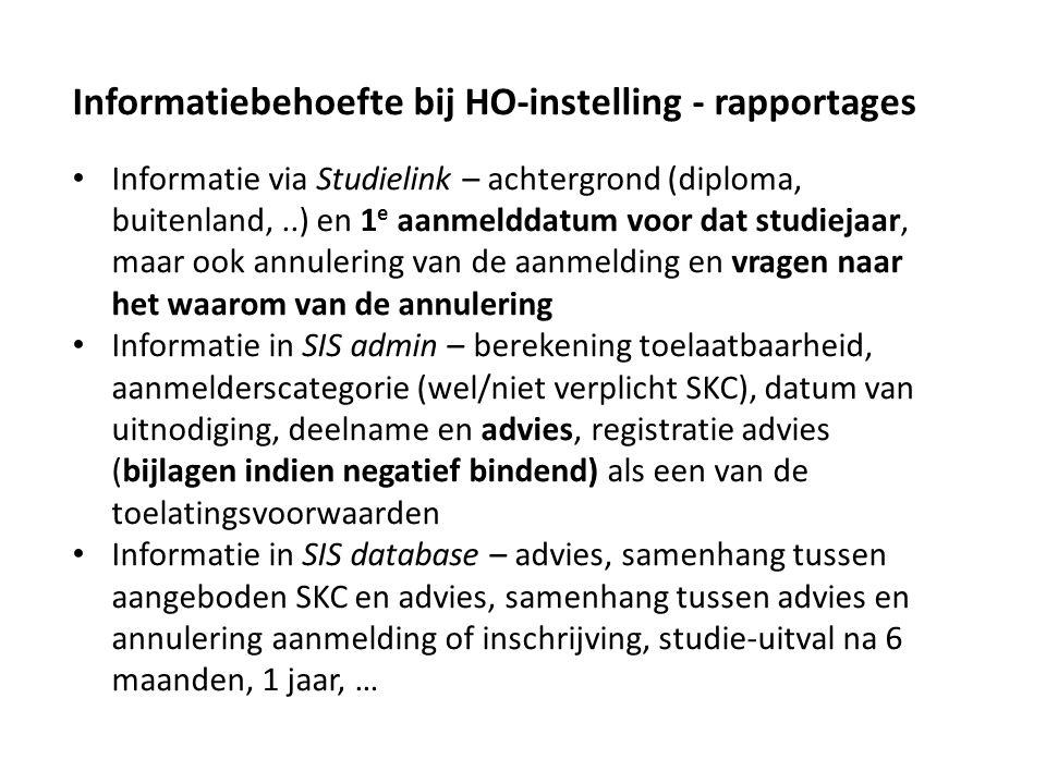 Informatiebehoefte bij HO-instelling - rapportages Informatie via Studielink – achtergrond (diploma, buitenland,..) en 1 e aanmelddatum voor dat studi