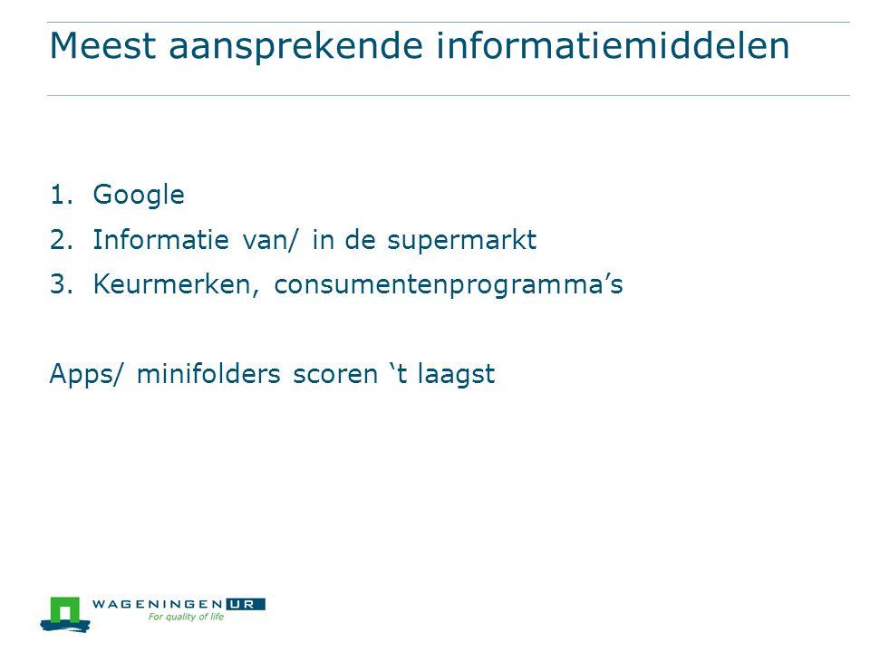 Meest aansprekende informatiemiddelen 1.Google 2.Informatie van/ in de supermarkt 3.Keurmerken, consumentenprogramma's Apps/ minifolders scoren 't laa