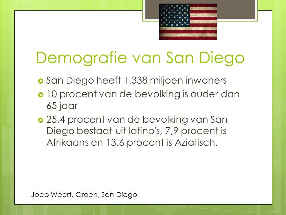 Demografie van San Diego  San Diego heeft 1.338 miljoen inwoners  10 procent van de bevolking is ouder dan 65 jaar  25,4 procent van de bevolking v