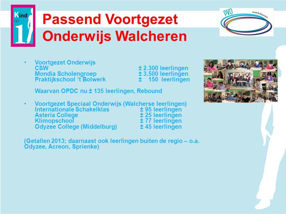 Passend Voortgezet Onderwijs Walcheren Voortgezet Onderwijs CSW± 2.300 leerlingen Mondia Scholengroep± 3.500 leerlingen Praktijkschool 't Bolwerk± 150