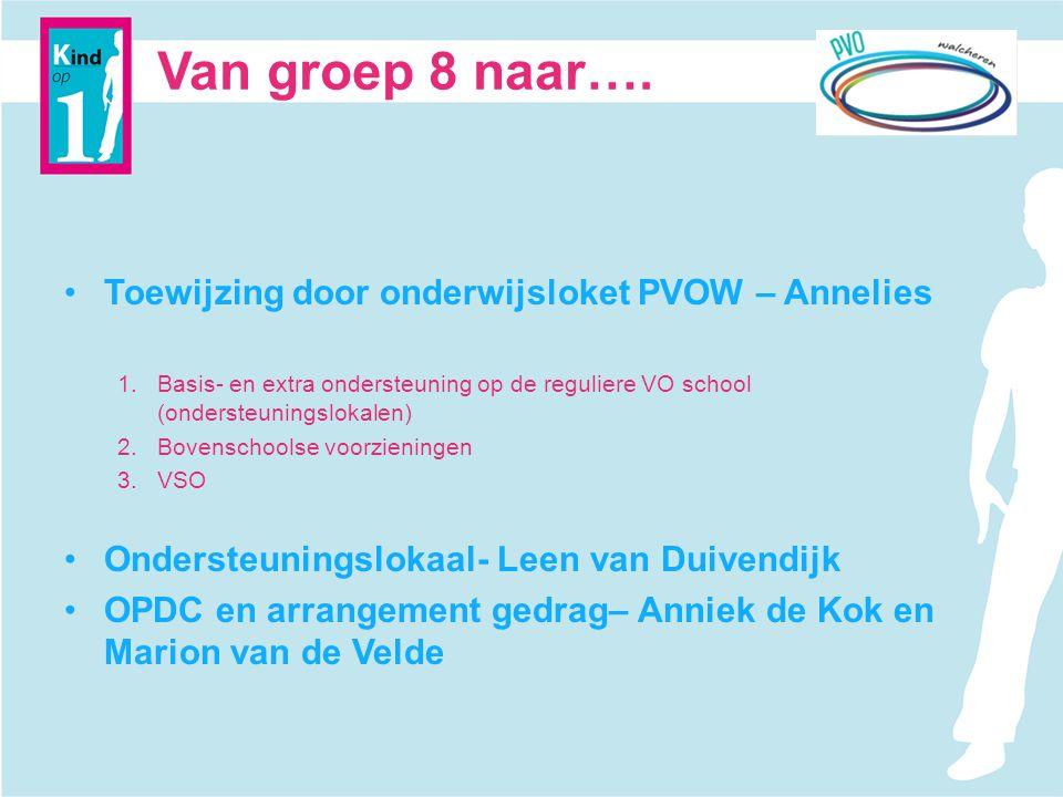 Van groep 8 naar…. Toewijzing door onderwijsloket PVOW – Annelies 1.Basis- en extra ondersteuning op de reguliere VO school (ondersteuningslokalen) 2.
