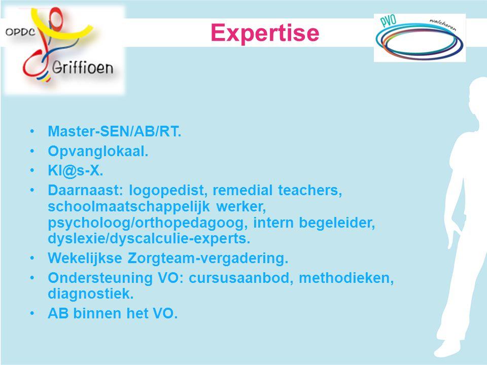 Master-SEN/AB/RT. Opvanglokaal. Kl@s-X. Daarnaast: logopedist, remedial teachers, schoolmaatschappelijk werker, psycholoog/orthopedagoog, intern begel