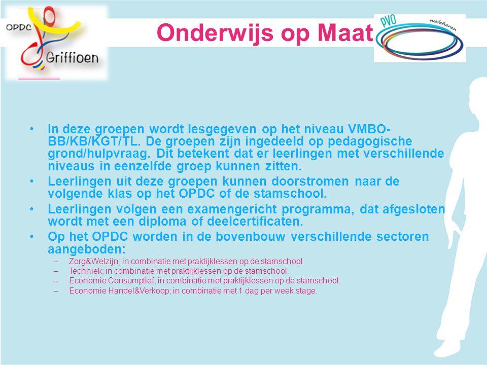 In deze groepen wordt lesgegeven op het niveau VMBO- BB/KB/KGT/TL. De groepen zijn ingedeeld op pedagogische grond/hulpvraag. Dit betekent dat er leer