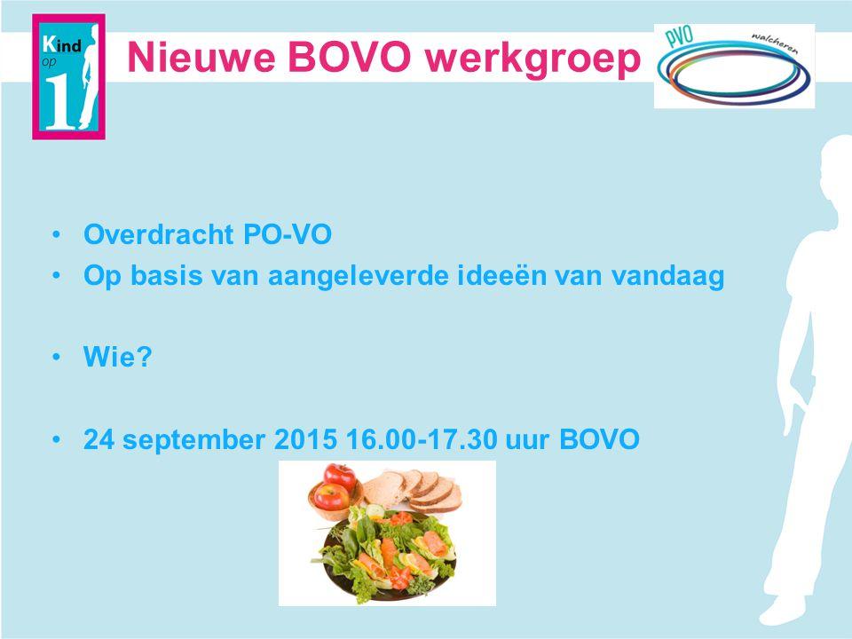 Nieuwe BOVO werkgroep Overdracht PO-VO Op basis van aangeleverde ideeën van vandaag Wie? 24 september 2015 16.00-17.30 uur BOVO