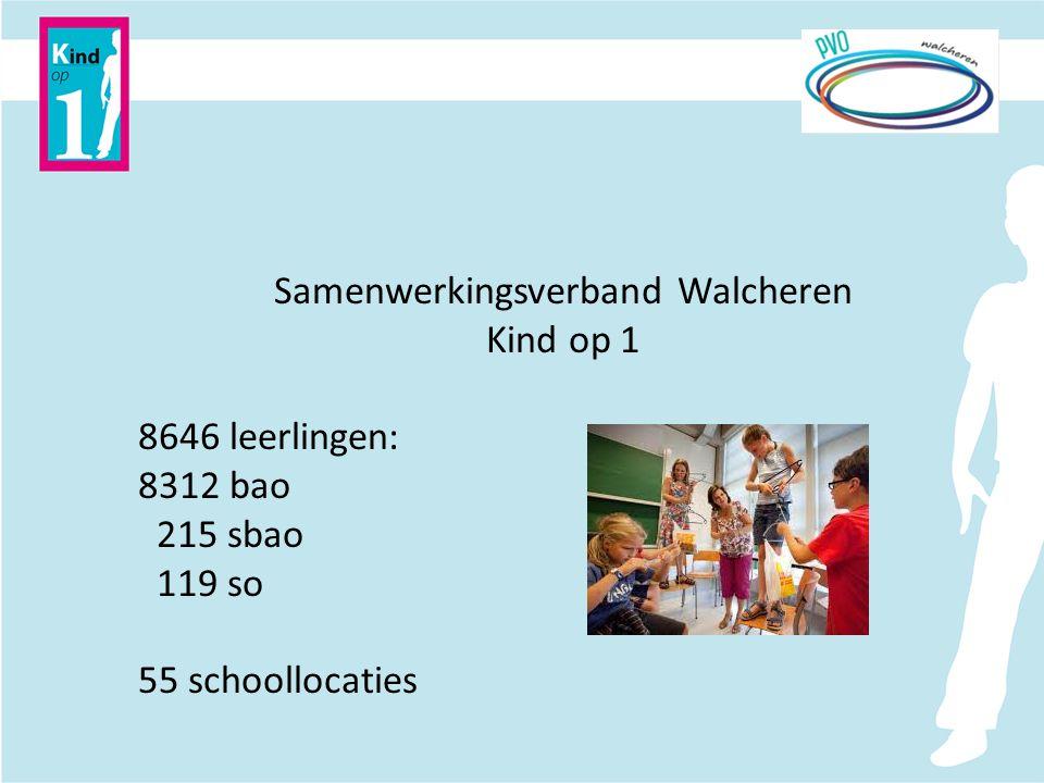 Samenwerkingsverband Walcheren Kind op 1 8646 leerlingen: 8312 bao 215 sbao 119 so 55 schoollocaties