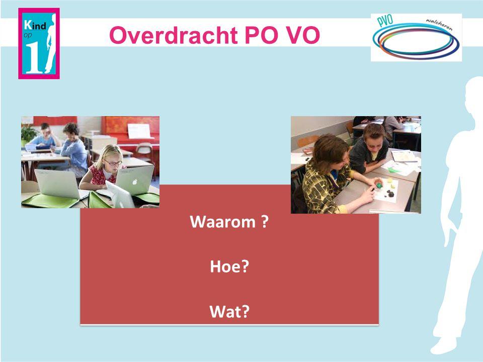 Nieuwe BOVO werkgroep Overdracht PO-VO Op basis van aangeleverde ideeën van vandaag Wie.