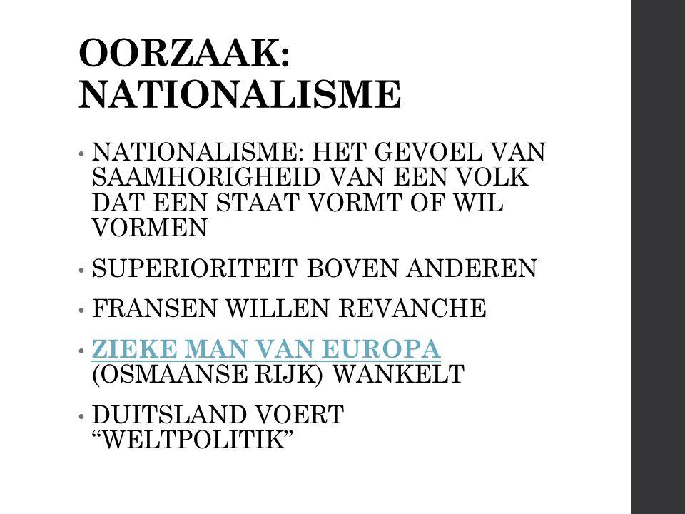 OORZAAK: NATIONALISME NATIONALISME: HET GEVOEL VAN SAAMHORIGHEID VAN EEN VOLK DAT EEN STAAT VORMT OF WIL VORMEN SUPERIORITEIT BOVEN ANDEREN FRANSEN WILLEN REVANCHE ZIEKE MAN VAN EUROPA (OSMAANSE RIJK) WANKELT ZIEKE MAN VAN EUROPA DUITSLAND VOERT WELTPOLITIK