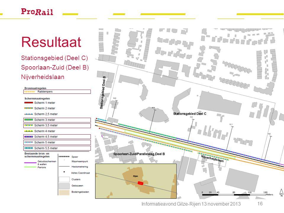 Resultaat Stationsgebied (Deel C) Spoorlaan-Zuid (Deel B) Nijverheidslaan Informatieavond Gilze-Rijen 13 november 2013 16