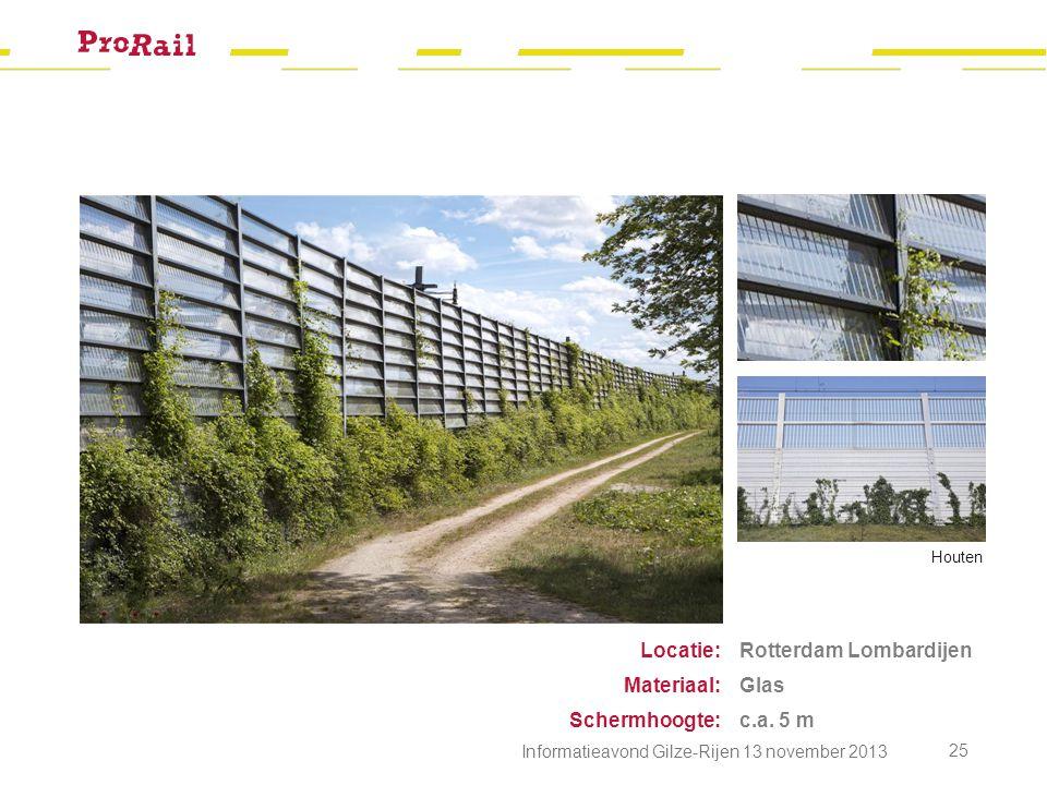 Rotterdam Lombardijen Glas c.a. 5 m Locatie: Materiaal: Schermhoogte: Houten Informatieavond Gilze-Rijen 13 november 2013 25